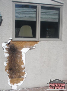 Eifs Dryvit synthetic stucco dryrot repair contractors with logo