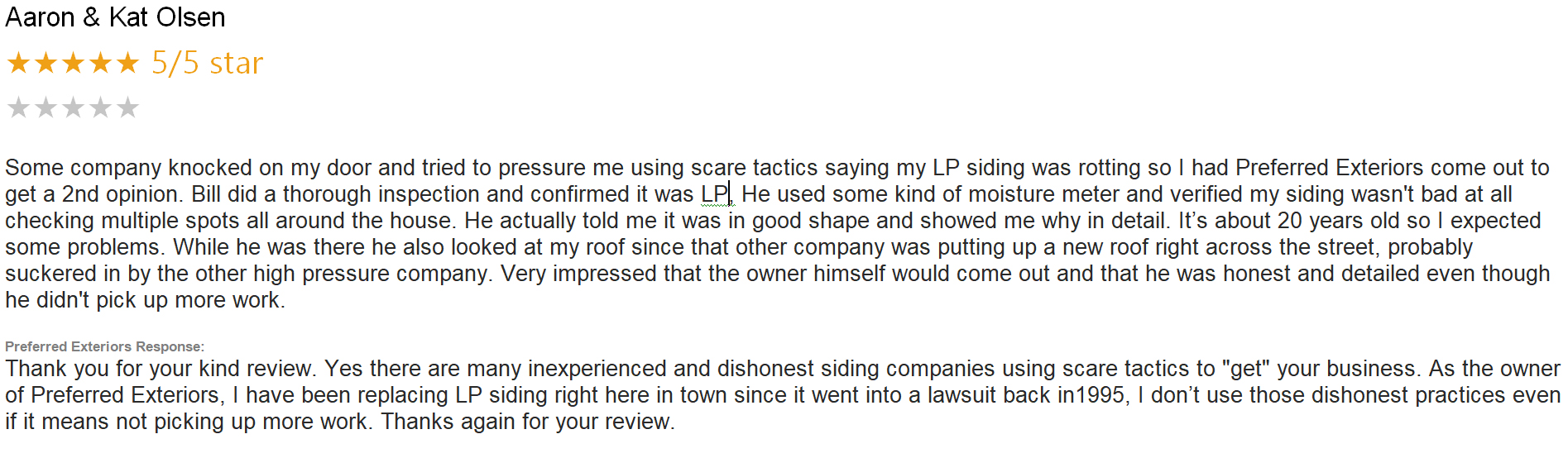 Preferred Exteriors Review