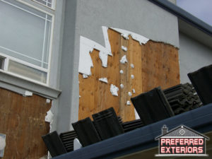 How is EIFS syntheitc stucco removed with logo